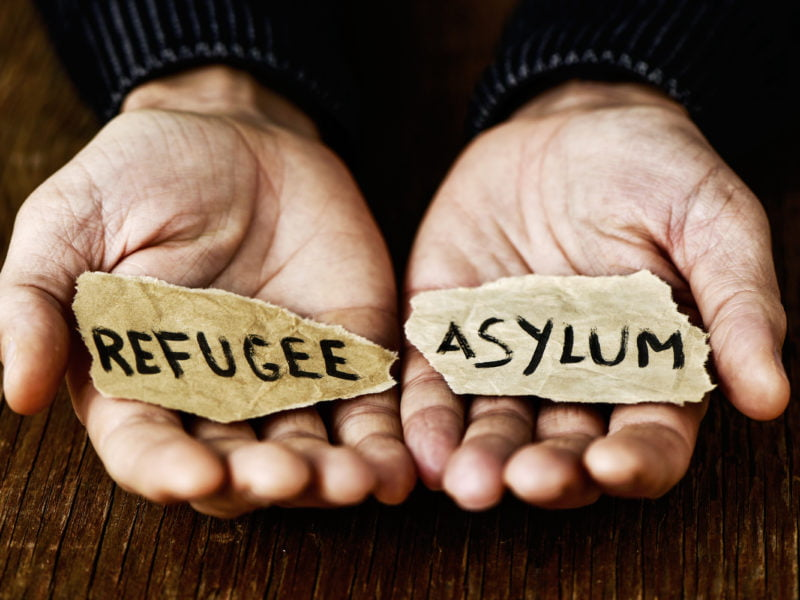 pieces of paper with words refugee and asylum